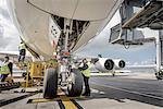 Chief engineer checking A380 aircraft