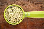 measuring scoop of hemp seed hearts against rustic wood board