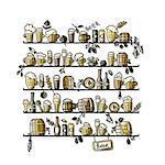 Shelves with beer, sketch for your design. Vector illustration