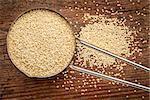 gluten free amaranth grain on a metal measuring scoop against rustic wood