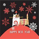 Beautiful Russian cat Happy New Year vector illustration