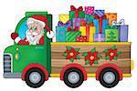 Christmas truck theme image 1 - eps10 vector illustration.