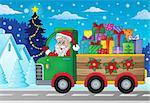 Christmas truck theme image 2 - eps10 vector illustration.