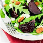 Roast Beetroot, Almond, Feta and Rocket Salad, close up