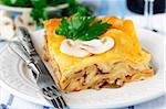 A Piece of Mushroom Lasagna on a Plate