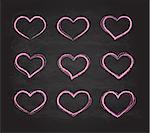 Retro scribble grunge chalk vector heart symbols romantic set