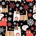 Beautiful Russian cat Happy New Year vector illustration snowflakes