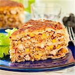 A Piece of Mexican Chicken, Zucchini and Corn Tortilla Pie, close up, square