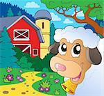 Farm theme with lurking sheep - eps10 vector illustration.