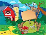 Farm theme with sign - eps10 vector illustration.