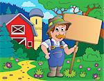 Farmer with sign near farm - eps10 vector illustration.