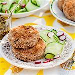 Potato and Pork Patties with Fresh Cucumber and Radish Salad, square