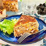 A Piece of Mexican Chicken, Zucchini and Corn Tortilla Pie, square