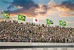 Illustration of Brazilian fans in a stadium