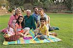 Three generation family picnic with grandchildren (4-5)