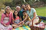 Three generation family with grandchildren (4-5) picnic, everyone sitting on blanket