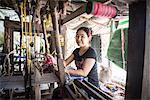Weaving at Twante, across the river from Yangon, Myanmar (Burma), Asia