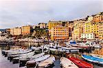 Fishing boats moored in harbour, Camogli, Liguria,  Italy