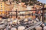 Fishing nets and harbour, Camogli, Liguria,  Italy