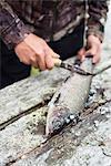 Woman preparing fish