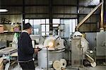 Japanese glass artisan working in the studio