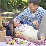 Enjoying a romantic picnic