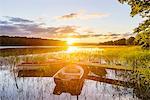 Rowboats at sunset