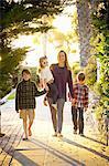 afternoon walk, mom and three kids