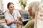 caretaker measuring senior woman's blood pressure