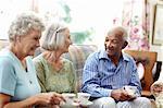 Senior people having coffee