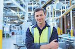 Portrait confident worker in factor