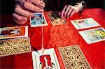 Cropped image of fortune teller using pendulum