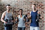 Fit smiling people lifting dumbbells together
