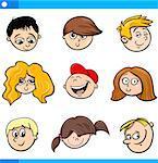 Cartoon Illustration of Cute Children Boys and Girls Faces Set