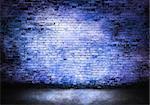 Murky brick wall in blue tones