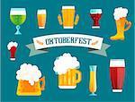 Beer vector icons set. Beer bottle, beer glass and beer label. Beer cups silhouette, beer vector icons, beer isolated. Oktoberfest beer vector set. Beer drink, beer sign, beer pub alcohol. Beer logo