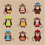 Happy cartoon vector ape monkey happy toys. Monkey party birthday . Merry christmas monkey toys, monkey vector, banana, jump, smile, monkey play. Vector ape monkey animals cartoon flat style. Apes vector monkey
