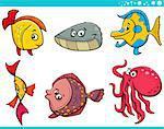 Cartoon Illustration of Funny Fish and Sea Life Animal Characters Set