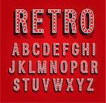 Retro font with light bulbs. Vector illustration.