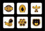 set of honey yellow icon on black background