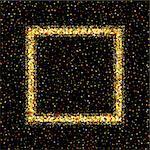 Golden square frame on black background. Gold sparkles on black background. Gold glitter vector.