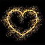 Golden frame on black background. Gold sparkles on black background. Gold glitter vector.