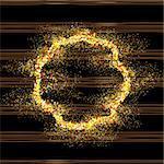 Golden round frame on black background. Gold sparkles on black background. Gold glitter vector.