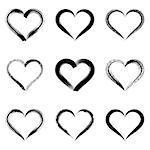 Black vector brush strokes hearts outlines valentine illustrations