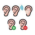 Hearing problem icons - sound, implant, ear, deaf