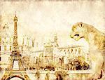 Grunge background with paper texture and landmarks of Paris - Eiffel tower, Les Invalides, Notre Dam de Paris