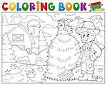 Coloring book farmer near farmhouse 1 - eps10 vector illustration.
