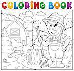 Coloring book farmer near farmhouse 2 - eps10 vector illustration.