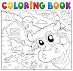 Coloring book lurking cow near farm - eps10 vector illustration.