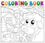 Coloring book lurking sheep near farm - eps10 vector illustration.